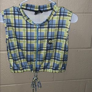 cannondale plaid sleeveless crop top